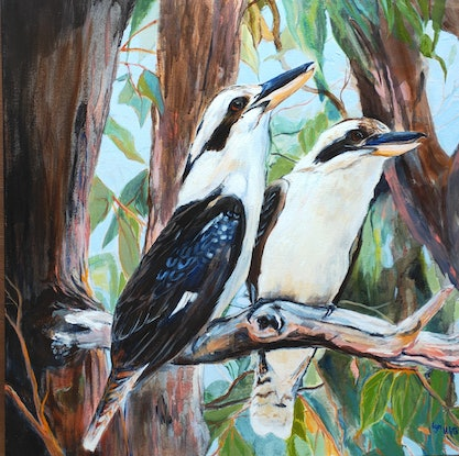 (CreativeWork) Kookaburras - Sounds of the Bush by Lyn Watts. Acrylic Paint. Shop online at Bluethumb.