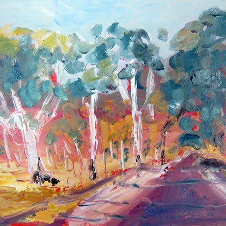 (CreativeWork) Purple Road  by Rachel Carroll. Oil Paint. Shop online at Bluethumb.