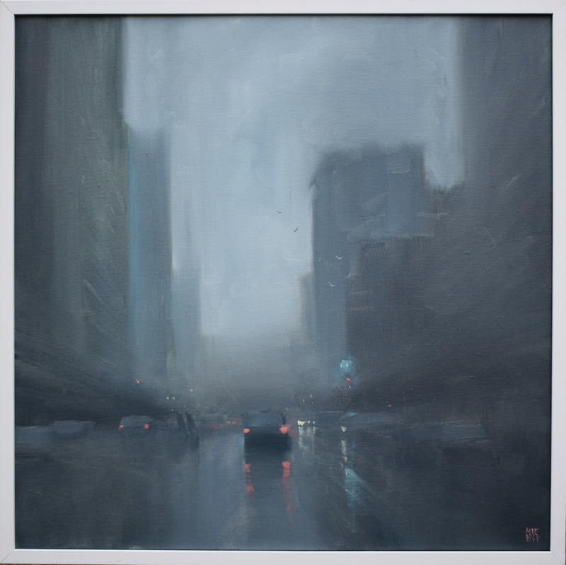 (CreativeWork) Early Rain - Moody city rainy-day oil painting by Mike Barr. Oil Paint. Shop online at Bluethumb.
