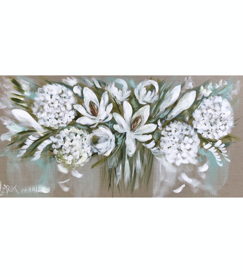 (CreativeWork) Summer white blossoms by Amanda Brooks. Acrylic Paint. Shop online at Bluethumb.