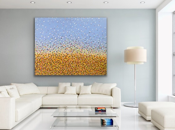 (CreativeWork) Field of Sunflowers  by Theo Papathomas. Acrylic Paint. Shop online at Bluethumb.