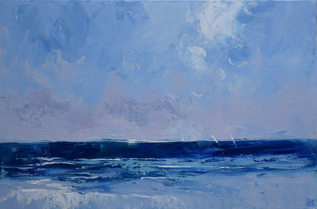 (CreativeWork) Blue Ocean Sails - Ocean decor series - textured knife painting by Mike Barr. Acrylic Paint. Shop online at Bluethumb.
