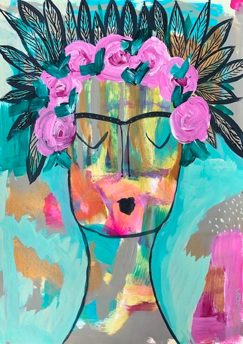 (CreativeWork) Frida With Pink Roses by Bec Schopen. Acrylic Paint. Shop online at Bluethumb.