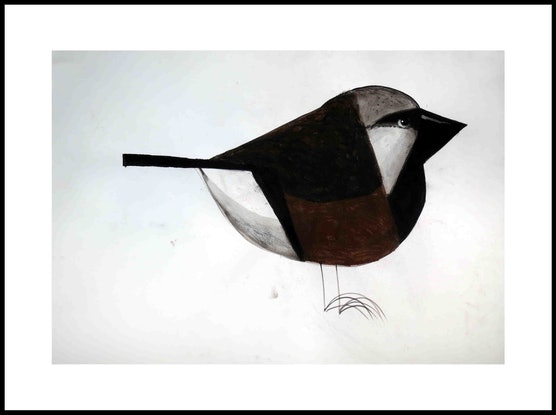 (CreativeWork) Black Throated Finch  by John Graham. Mixed Media. Shop online at Bluethumb.