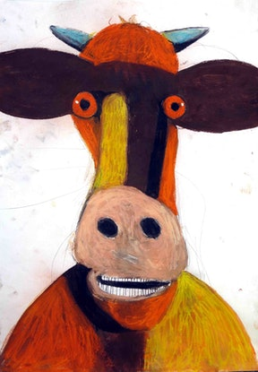 (CreativeWork) Cow Portrait  by John Graham. Mixed Media. Shop online at Bluethumb.