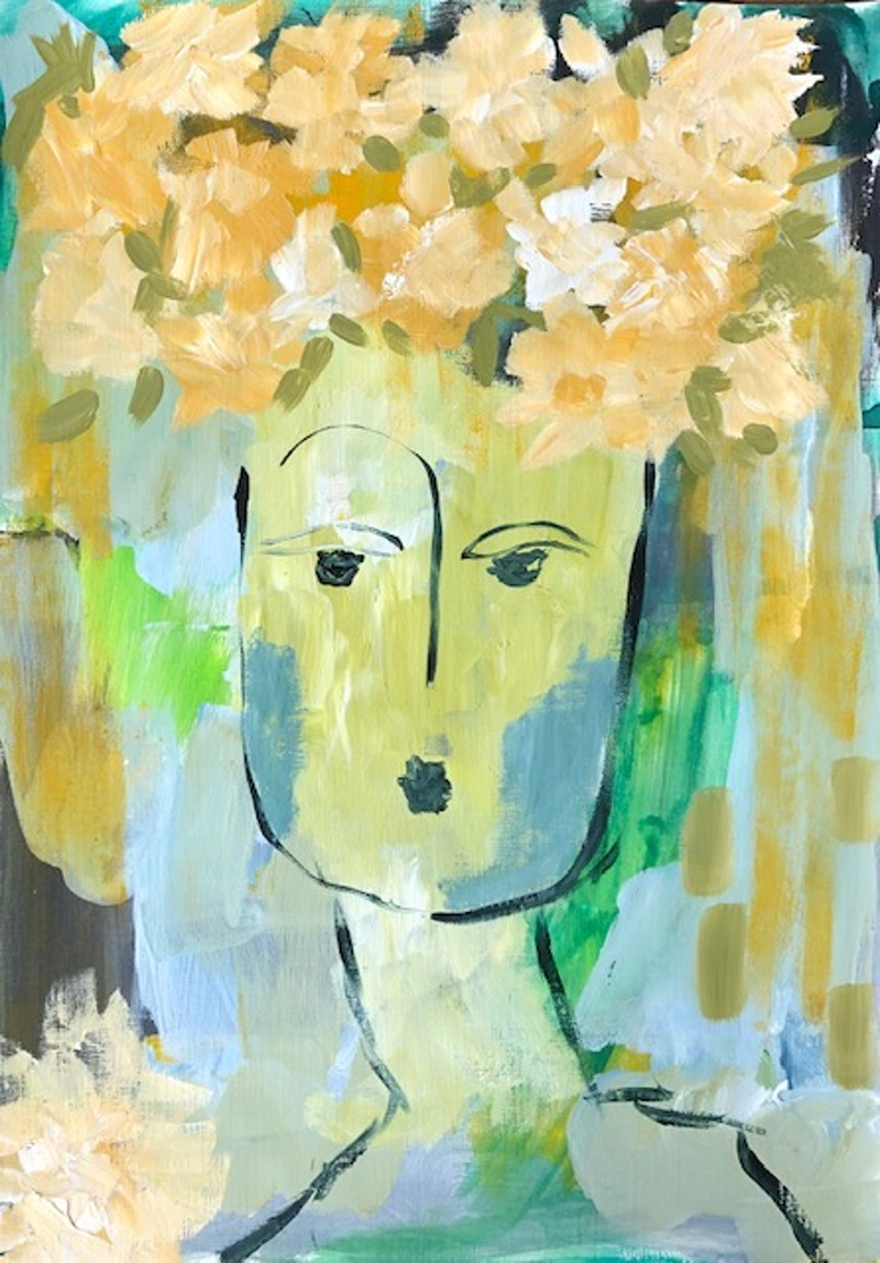 (CreativeWork) Girl In The Garden by Bec Schopen. Acrylic Paint. Shop online at Bluethumb.