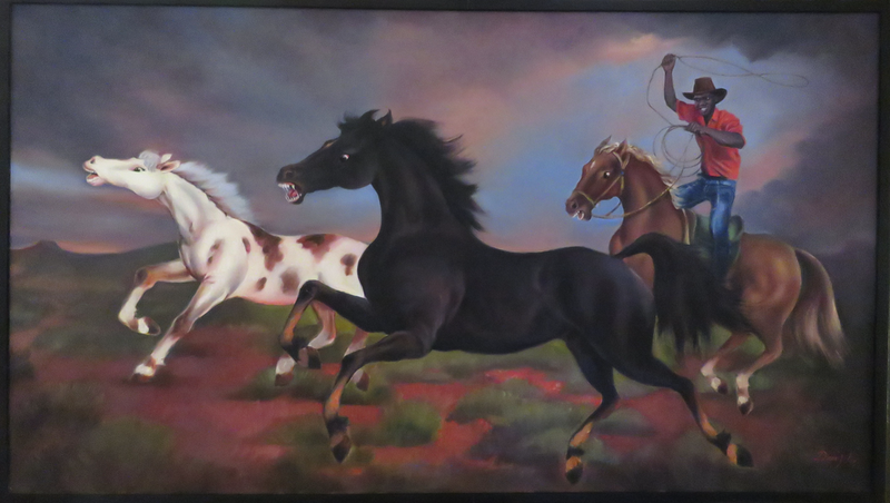(CreativeWork) The Black Brumby by Rob Davis. Oil Paint. Shop online at Bluethumb.