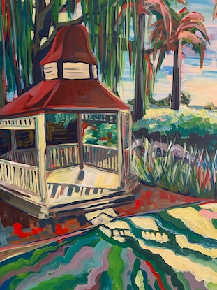(CreativeWork) Gazebo - The Riverina Series by Maggie Deall. Acrylic Paint. Shop online at Bluethumb.