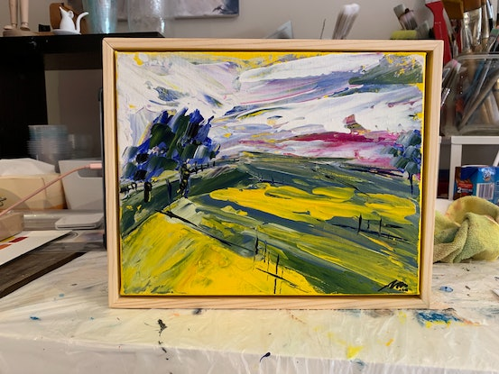(CreativeWork) Canola Fields 1 by Maggie Deall. Acrylic Paint. Shop online at Bluethumb.