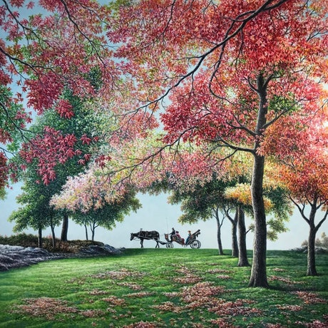 (CreativeWork) Charming Autumn by Alex Mo. Oil Paint. Shop online at Bluethumb.