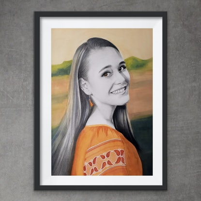 (CreativeWork) Portrait Commission  - Madison (Reserved) by Kati Garrett Filho. Mixed Media. Shop online at Bluethumb.