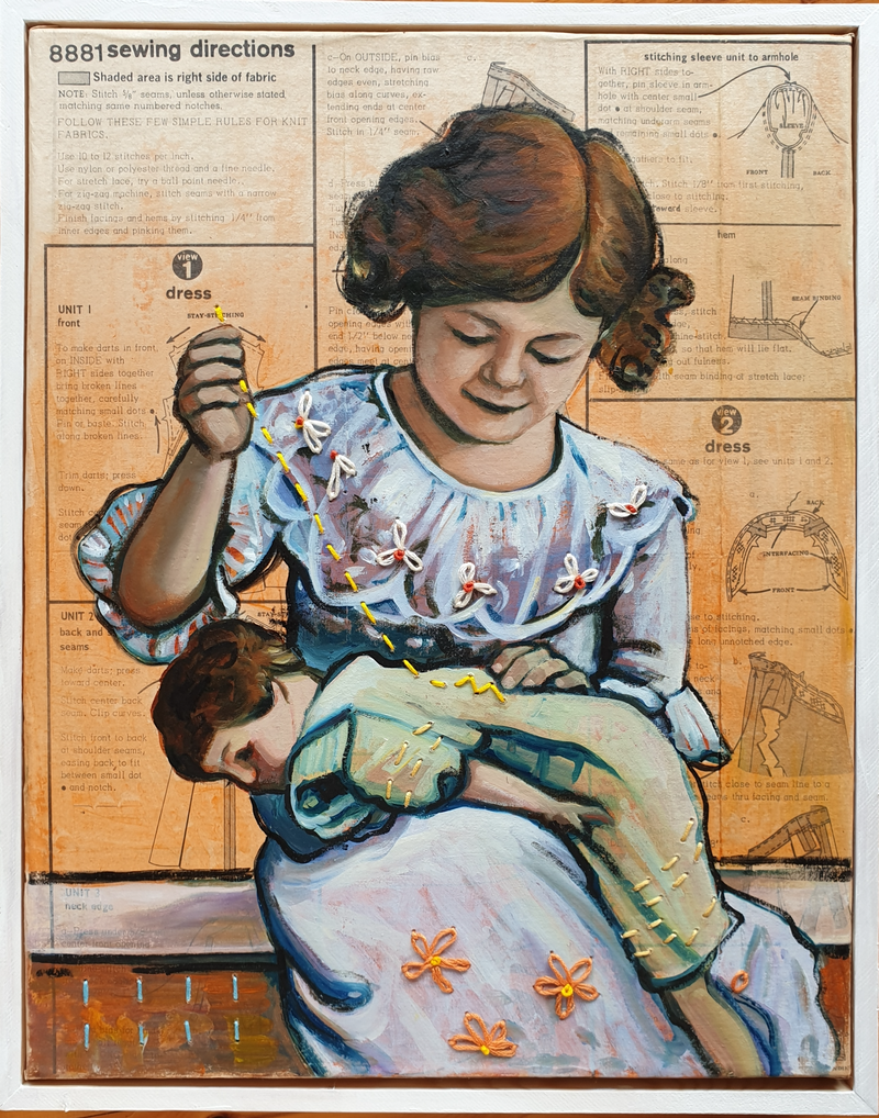 (CreativeWork) Learn to Sew  by Sherry McCourt. Oil Paint. Shop online at Bluethumb.