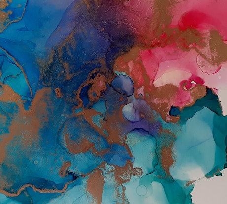 (CreativeWork) Heart on Fire - Alcohol Ink by Jenny Chen. Other Media. Shop online at Bluethumb.