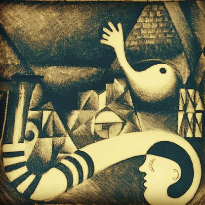 (CreativeWork) Girl with a striped stocking Ed. 1 of 20 by Barbara Harkness. Print. Shop online at Bluethumb.