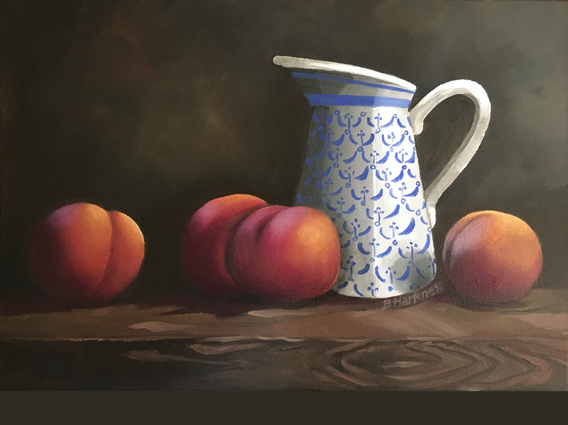 (CreativeWork) Jug with peaches study by Barbara Harkness. Oil Paint. Shop online at Bluethumb.