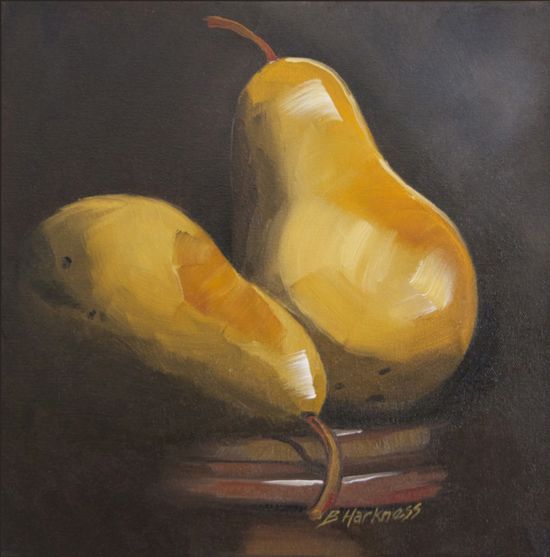 (CreativeWork) Two pears by Barbara Harkness. Oil Paint. Shop online at Bluethumb.