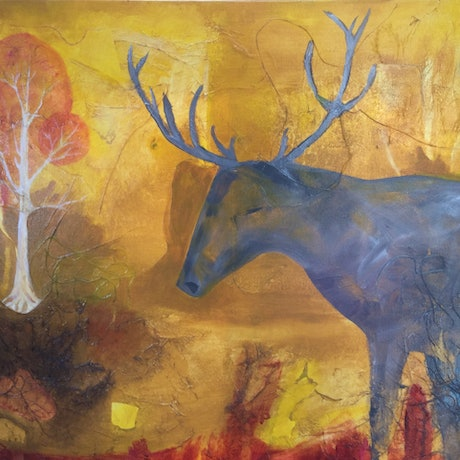 (CreativeWork) Deer Dreaming  by Paola Ditel. Mixed Media. Shop online at Bluethumb.