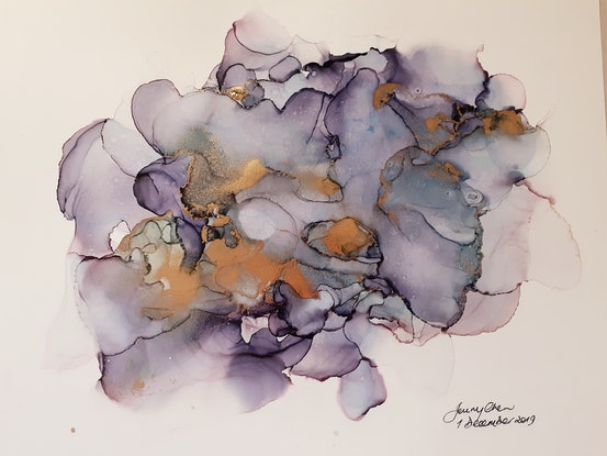 (CreativeWork) Midnight Sun - Alcohol Ink by Jenny Chen. Other Media. Shop online at Bluethumb.