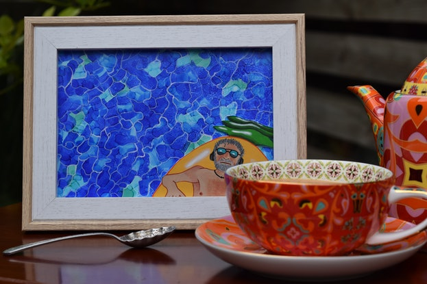 (CreativeWork) David Floating in the Pool by Emily Provan. Mixed Media. Shop online at Bluethumb.