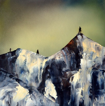 (CreativeWork) The Long Ascent 1 by Elaine Green. Oil Paint. Shop online at Bluethumb.