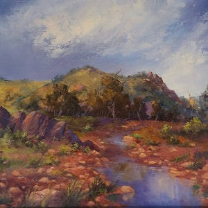 (CreativeWork) Rainy Day-Saltia Creek by Joan Hancock. oil-painting. Shop online at Bluethumb.