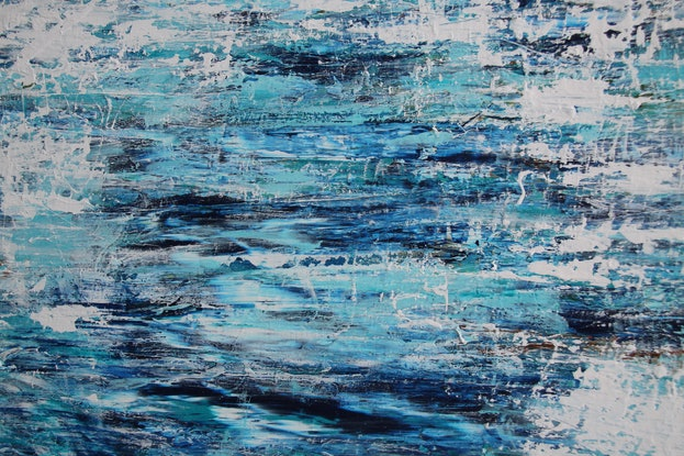 (CreativeWork) Cloud Reflections Across The Water by Annette Spinks. Acrylic Paint. Shop online at Bluethumb.
