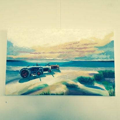 (CreativeWork) Kingston Tractors by Christopher Steele. Acrylic Paint. Shop online at Bluethumb.