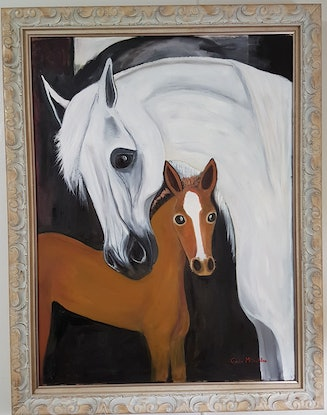 """(CreativeWork) """"A Mothers love"""" by Glenda McLachlan. Oil Paint. Shop online at Bluethumb."""