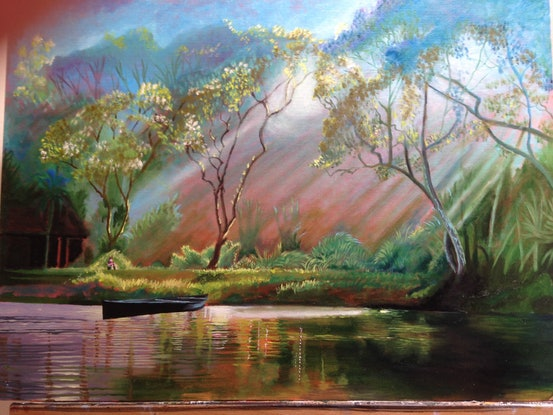 (CreativeWork) By Still Waters by Christopher Steele. Oil Paint. Shop online at Bluethumb.