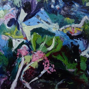 (CreativeWork) ABSTRACT SEAWEED 2 by Maureen Finck. oil-painting. Shop online at Bluethumb.