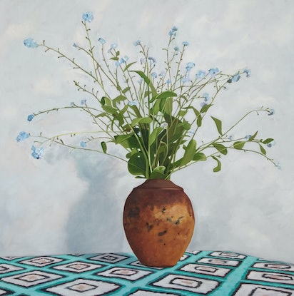 (CreativeWork) Forget me not by Sandra Jenkins. Oil Paint. Shop online at Bluethumb.
