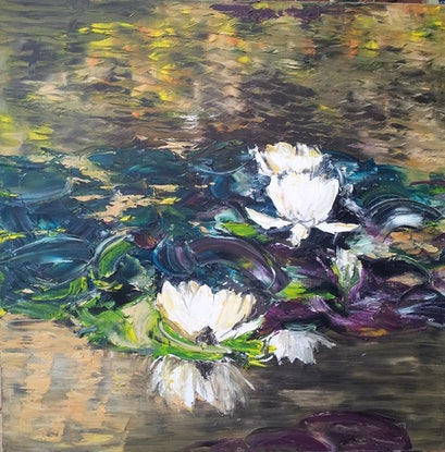 (CreativeWork) Water garden Giverny by Kirsten Button. Oil Paint. Shop online at Bluethumb.