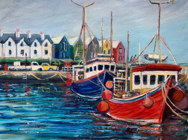 (CreativeWork) John o'Groats harbour by Sue Hill. Oil Paint. Shop online at Bluethumb.