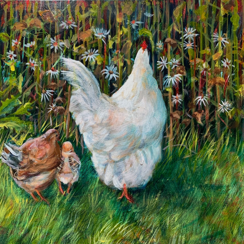 (CreativeWork) Free range fowls by Sue Hill. Acrylic Paint. Shop online at Bluethumb.