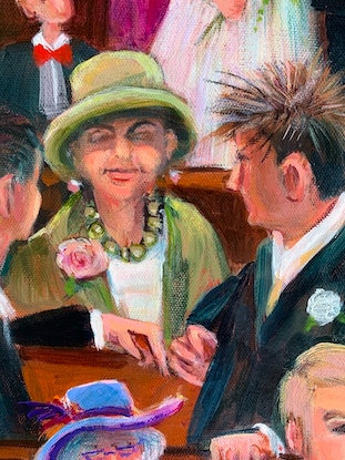 (CreativeWork) The Green Hat by Sue Hill. Acrylic Paint. Shop online at Bluethumb.