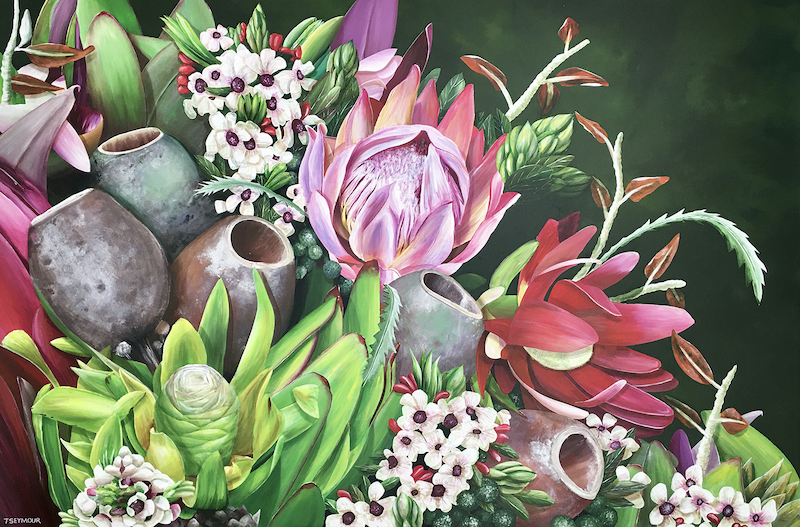 (CreativeWork) AMONG THE WILDFLOWERS by Treena Seymour. Acrylic Paint. Shop online at Bluethumb.