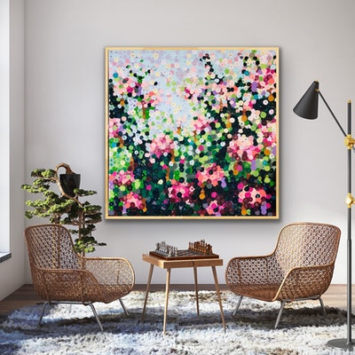 (CreativeWork) Rose garden  102x102 framed abstract flowers by Sophie Lawrence. acrylic-painting. Shop online at Bluethumb.