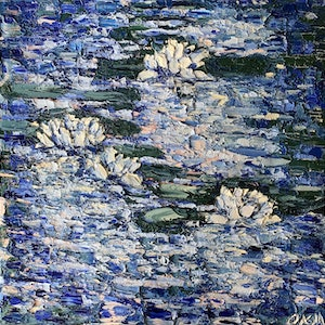 (CreativeWork) Water Lilies at Dusk by Olivia Miller. oil-painting. Shop online at Bluethumb.
