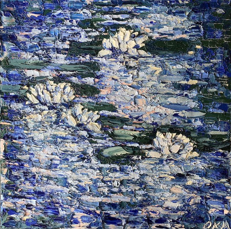 (CreativeWork) Water Lilies at Dusk by Olivia Miller. Oil Paint. Shop online at Bluethumb.