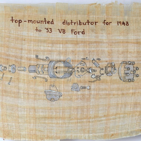 (CreativeWork) top mounted distributor for 1948 to 53 V8 Ford by Peter Tulloch. Drawings. Shop online at Bluethumb.