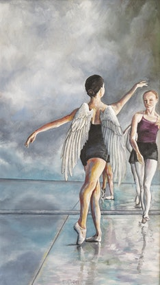 (CreativeWork) Angels by Kirsten Button. Oil Paint. Shop online at Bluethumb.