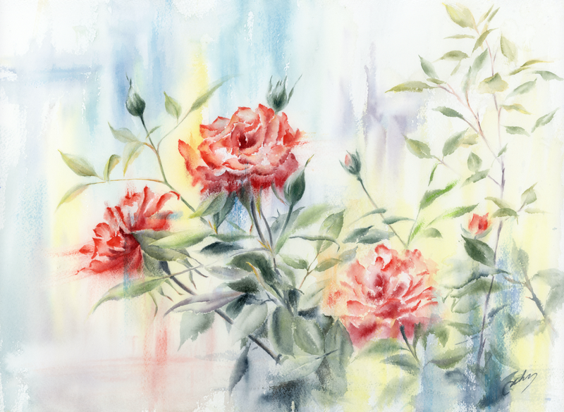 (CreativeWork) Red red roses by Cecilia Xiao. Watercolour Paint. Shop online at Bluethumb.