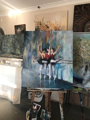 (CreativeWork) Pirouette by Kirsten Button. Oil Paint. Shop online at Bluethumb.