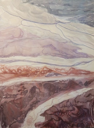 (CreativeWork) Red River Country by Vanessa Whittington. Mixed Media. Shop online at Bluethumb.
