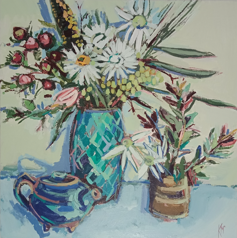 (CreativeWork) TEA PARTY by Karen McPhee. acrylic-painting. Shop online at Bluethumb.