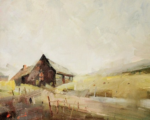 (CreativeWork) Old Hay Shed Near Tolmie Vic by Li Zhou. Oil Paint. Shop online at Bluethumb.