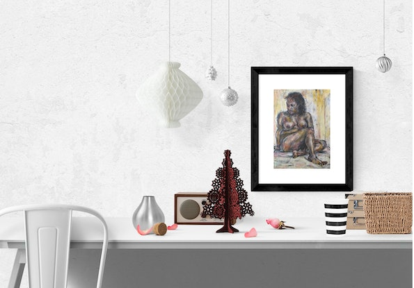 (CreativeWork) Yasmin #1 (framed and ready to hang) by Linda Schneider. Drawings. Shop online at Bluethumb.