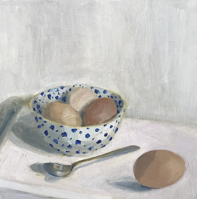 (CreativeWork) Eggs and spoon by Jac Reynolds. Oil Paint. Shop online at Bluethumb.