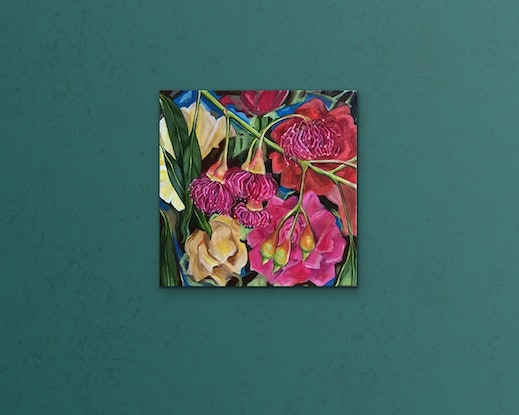 (CreativeWork) 25% OFF SALE - Worcester Ware Gum Blossom Pop - Vintage Series by Alicia Cornwell. Oil Paint. Shop online at Bluethumb.