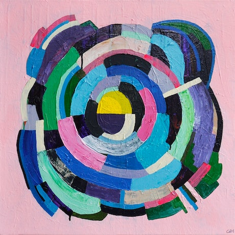 (CreativeWork) Yellow Centre by Christopher de Hoog. Acrylic Paint. Shop online at Bluethumb.